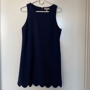 Scalloped Hem, Navy Blue Dress